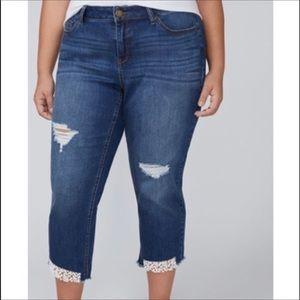 LANE BRYANT > Crochet Girlfriend Cropped Jeans